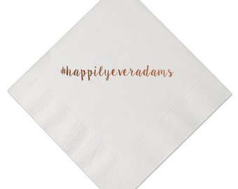Happily Ever After Personalized Wedding Napkins - Happily Ever Name