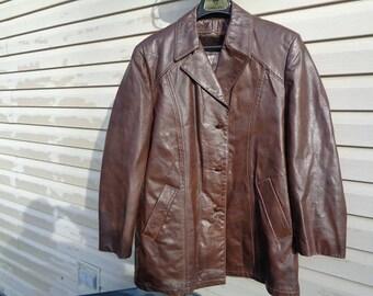Mans 1960s vintage brown 3 button vintage leather jacket,coat by Grais size 42R,Nice jacket