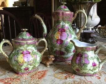 Japan/Nippon Colorful Pink & Green Moriage Gold Gilt/Slip Porcelain Teapot/Coffee Pot/Lid/Creamer/Sugar Bowl Set