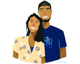 Anniversaty gift, Personalized anniversary gift, mothers day gift, gift for her, gift for him, portrait, custom caricature family