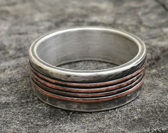Rustic wedding band , Silver wedding band , Engagement ring,  handmade silver & Copper band, unique silver ring,  Studioadama, copper band
