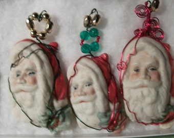 PORCELAIN BISQUE HANDPAINTED santa claus ornaments