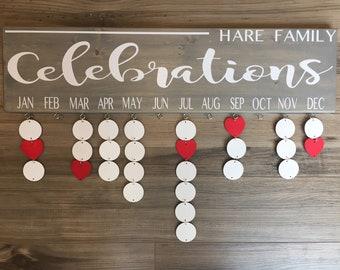 Family Celebration Board - Family Name - Coloured Discs