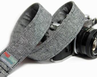 Black Linen Camera Strap, Black Linen