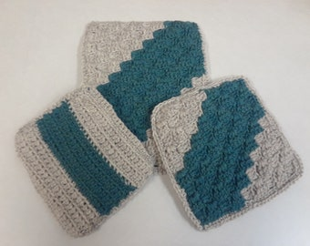 3 Piece Hot Pad Trivet Set Jade Green and Oatmeal/Tan colors DOUBLE Thickness Crocheted Handmade Great Kitchen Gift Idea Great Gift for MOM