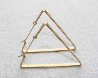 TRIANGLE HOOP EARRINGS - Large Triangle Hoops - Big Triangle Hoops in Bronze, Silver, Gold Fill