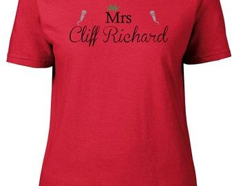 Mrs Cliff Richard. Ladies semi-fitted t-shirt.