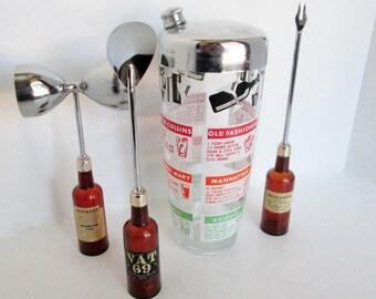 Liquor bottle tools, dice cocktail shaker, Bar Utensil Set bartender recipes tools with dice double jigger, long spoon, garnish fork