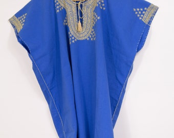 Beautiful Blue Handmade Embroidered Blouse from Chiapas Blue Cotton XXL Ready to Ship