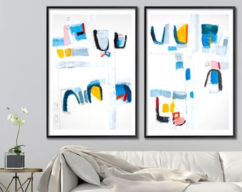 Large Art Print of ABSTRACT painting, Large Wall Art, Giclee Print, 28x40, Blue Painting Yellow, Geometric by Duealberi