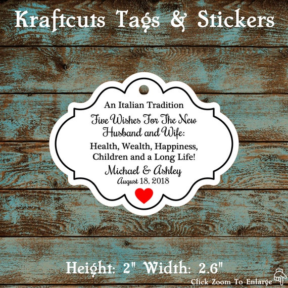 Favor Tags, Jordan Almond Favor Tags, Sugared Almond Favor Tags, Italian Wedding Favor Tags Framed with Red Heart #677 - Qty: 30 Tags