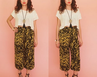 90s Palazzo Pants // Wide leg Pants // Culottes // Abstract Print Pants // Airy Pants // High Waist Pants // Vintage
