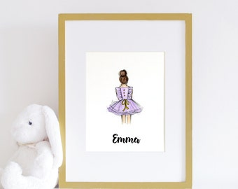 Lavender Nursery Art Print, Baby Girl decor, Fashionista Print, Little Girl Print, Dress Art Print, Girls room print, dress sketch