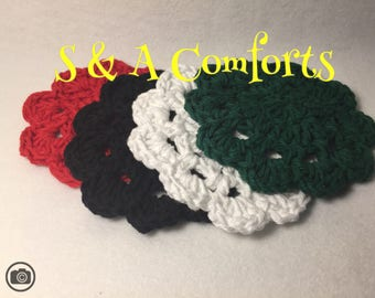 Ready to Ship***Cotton Flower Coasters|Crocheted| Set of 4| Various  Colors
