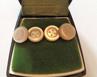 French 1940s Men Tuxedo Shirt Round Buttons - Set of 4 - Silver Plated & Abalone Mother of Pearl - MADE IN FRANCE - Mint in Vintage Box