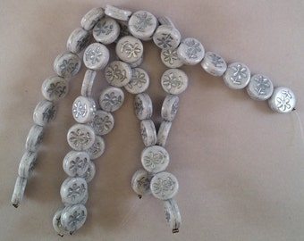 Coin Beads, 11mm, White With Silver Flowers, LE0053/21, 16 Beads, Czech Glass