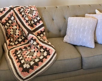 Peach Spring Granny Square Afghan