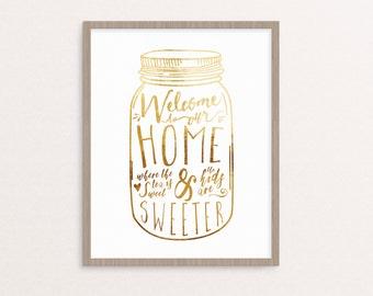 Welcome Mason Jar Print - Digital Download