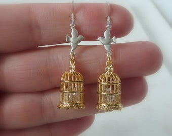 Set Free. Birdcage Earrings. whimsical earrings. dangle earrings. gold and silver earrings. modern earrings. boho earrings. unique earrings