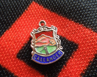 Enamel Silver Callander Charm Vintage Enamel Callander Scotland Battle Travel Shield Silver Charm for Bracelet from Charmhuntress 01980