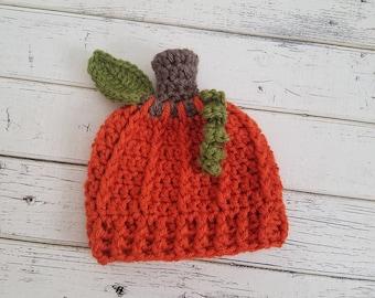 Pumpkin Hat, Newborn Pumpkin Hat, Baby Pumpkin Hat, Pumpkin Photo Prop, Pumpkin Beanie, Halloween Hat, Pumpkin Hats, Baby Boy, READY 2 SHIP