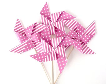 Set of 4 pinwheels decorative fuchsia color customizable