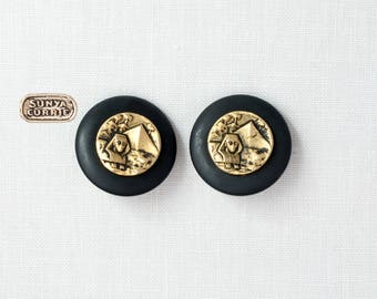 Black Onyx Disc with Gold Egyptian Revival Clip Earrings