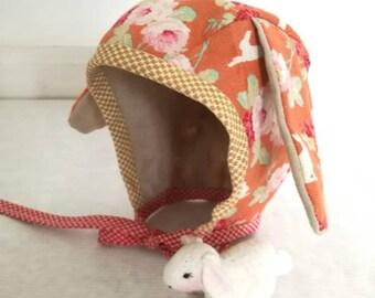 Bunnie hat with felt Bunnie Orange
