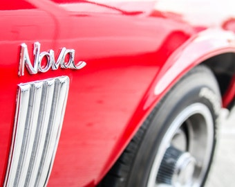 Red Chevy Nova, Chevy muscle cars, Black white photography, Gift for car lovers, Dorm room wall décor, Wall art for men, Wall décor office