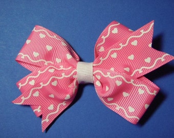 Large Pink With White Hearts Hairbow For Infant, Toddler, Girl