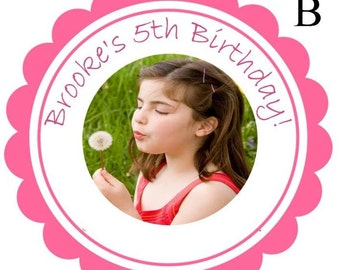 Birthday Party Favor Stickers Labels  - Picture Labels with Border