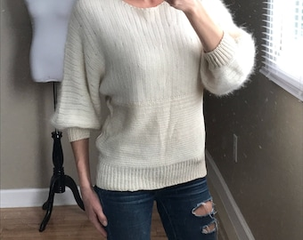 Vintage 70's Talk of the Walk Fuzzy Ivory Sweater- Union Made