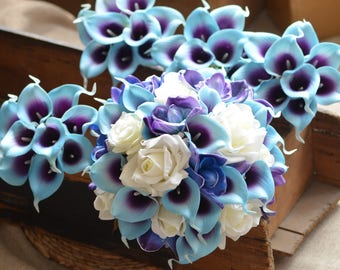 Blue Purple Orchids Calla Lilies Bridal Bouquets Off White Roses Real Touch Flowers Bridal Bouquets Bridesmaids Bouquets Wedding Package