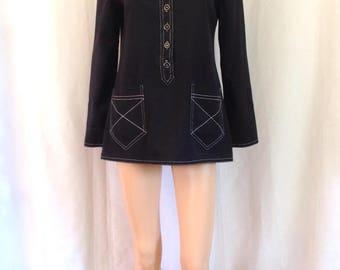 1960's Sailor Style Gabardine Tunic w/ Top Stitching Sz. S/M