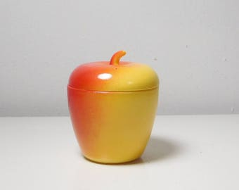 Vintage Apple Jar with Lid Red and Yellow Sugar Bowl Farmhouse Cottage Decor