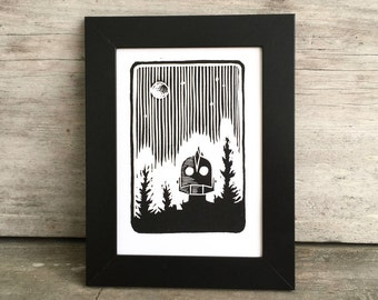 Iron Giant Fan Art, Original Linocut Print