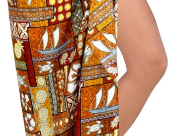 Sarong Bathing Swimsuit Swimwear Beach Cover up Printed Pareo wrap Brown Free Size One Size - 122886