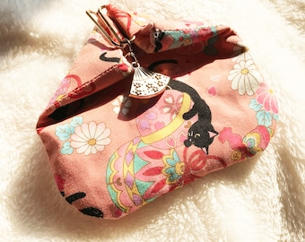 Makeup bag/coin purse, hand made wallet, Japanese style, Double fabric