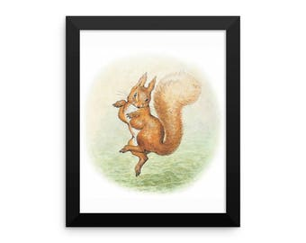 Squirrel Nutkin Framed Poster, Beatrix Potter Peter Rabbit Framed Art Print, Nursery Art Print, Shower Gift