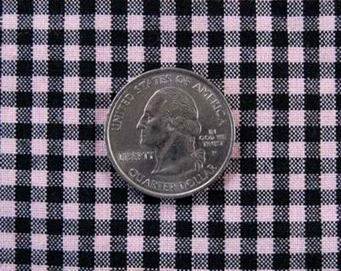 """GINGHAM CHECK 1/8"""" Pink & Black 100% Cotton Fabric - by the Yard, Half Yd, Quarter Yd, FQ (16 other colors)"""
