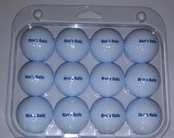 12 Plain White Personalized Golf Balls with one sided print, Custom Golf Balls, Customized Golf Balls, monogram golf balls
