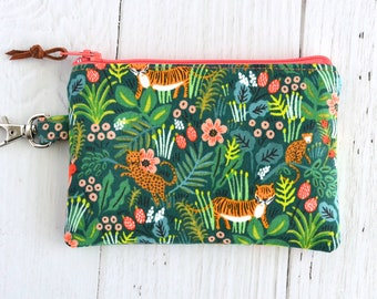 Rifle Paper Co Coin Purse with Swivel Clip/ Mini Zipper Pouch/ ID Card Wallet/ Keychain Coin Purse/ Menagerie Jungle