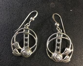 Silver Rennie Mackintosh drop earrings