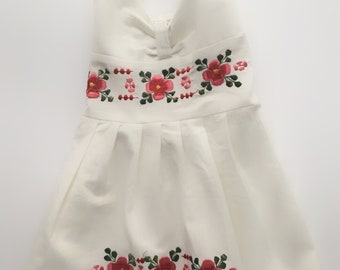 Mexican Baby Cream Halter Dress with Floral Design Embroidery