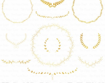 "Gold Wedding Laurels and Wreaths Clipart Set - ""GOLD WREATHS CLIPART"" - 11 images, 300 dpi. Png files. Instant Download"