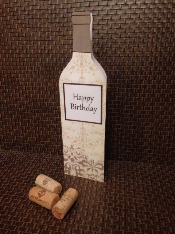 Handmade birthday card in the shape of a wine bottle inside m4hsunfo