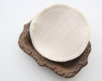 "Organic Cotton Birdseye Facial Rounds -- Two Ply  4"" Diameter, Quantity & Thread"