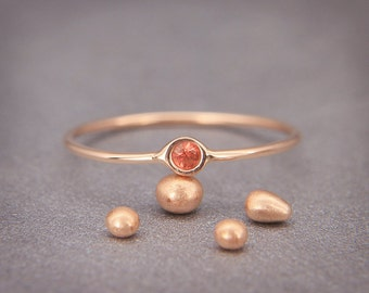 Orange Sapphire Ring | Handmade Solid 14K Rose Gold Ring set with Orange Sapphire | Alternative Statement Ring - September birthstone!