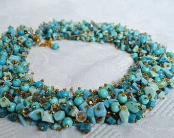 Turquoise Jewelry Statement Beaded Bib Elegant Necklace, Modern Seed Beads Fashion Party Stylish Holiday Necklace, Anniversary Gift for Her