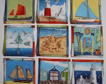 BEACH COASTAL Rare Fabric Squares Sailboat Lighthouse 9 Iron On Appliques Cards Scrapbooking Makower UK